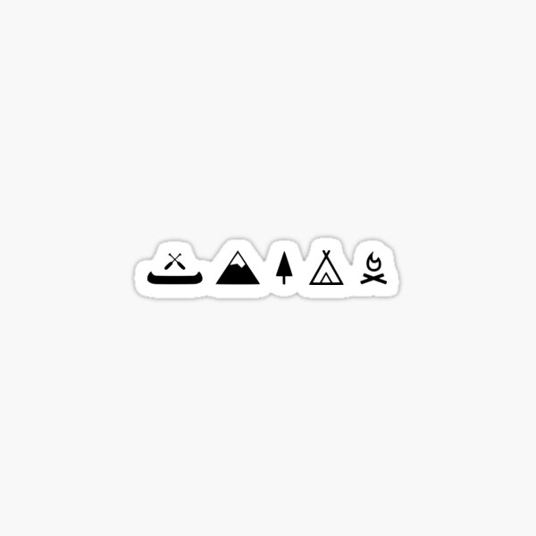Camping canoe, campfire with mountain Sticker