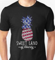 Sweet Land Of Liberty 4th Of July Pineapple America T-shirt Unisex T-Shirt