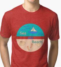 Sea, waves, beach, yacht, seashells, footprint. Tri-blend T-Shirt