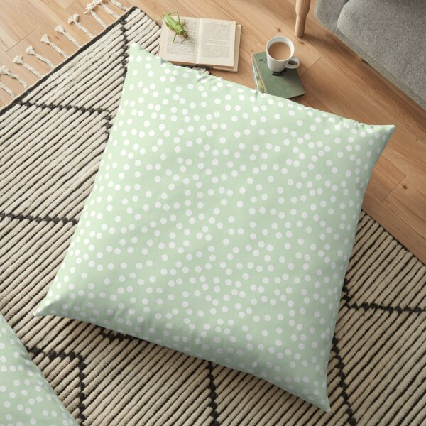 Palest Green and White Polka Dot Floor Pillow