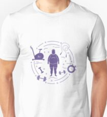 Fat man and different sports equipment. Unisex T-Shirt