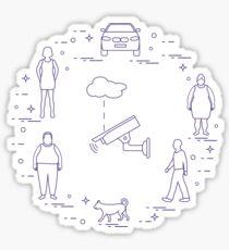 Security camera, dog, woman, girl, men, car. Sticker