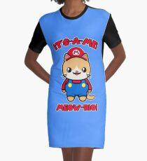 Cute Cat Funny Kawaii Mario Parody Graphic T-Shirt Dress