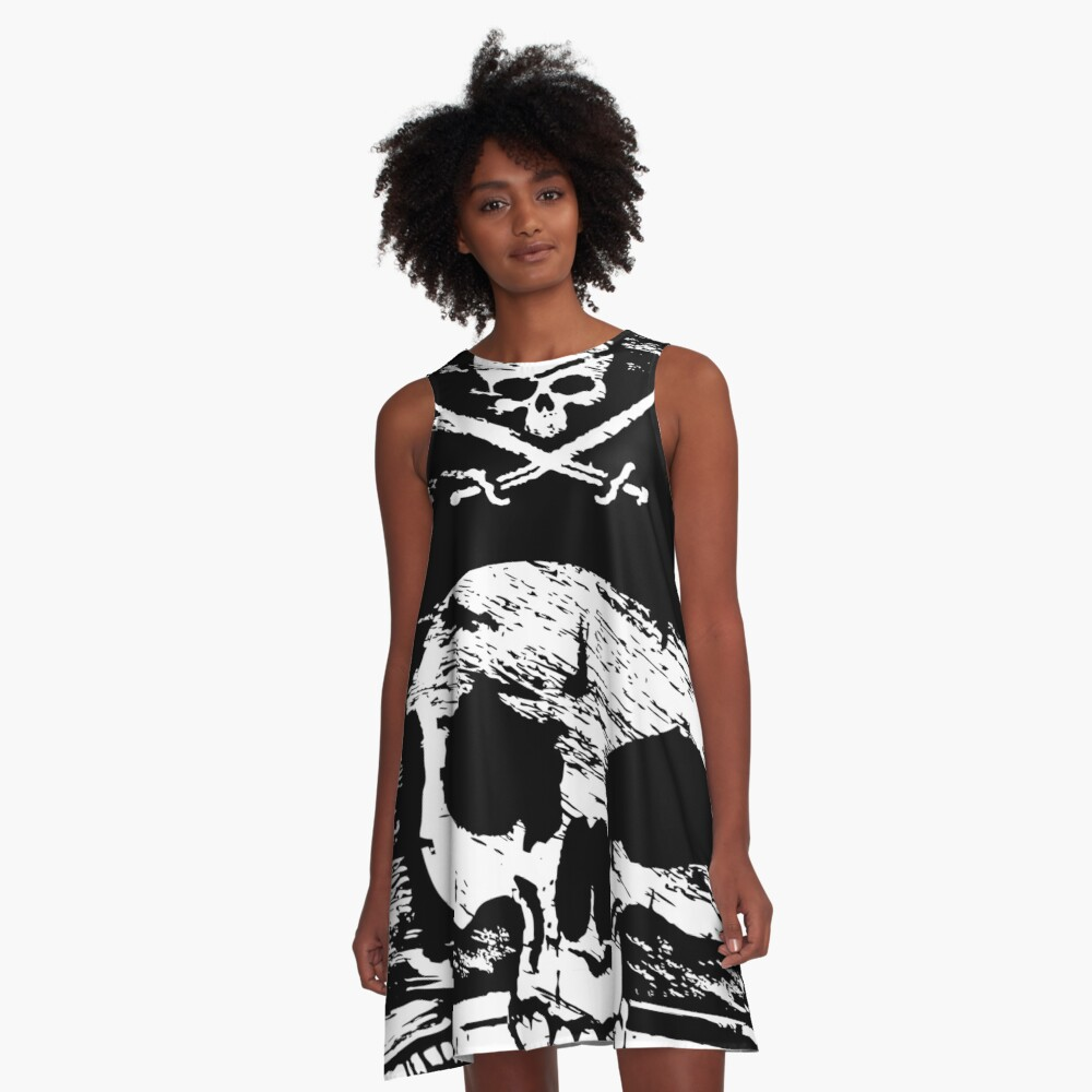 Pirates Adventure Mallorca Merchandise Skull Black A-Line Dress Front
