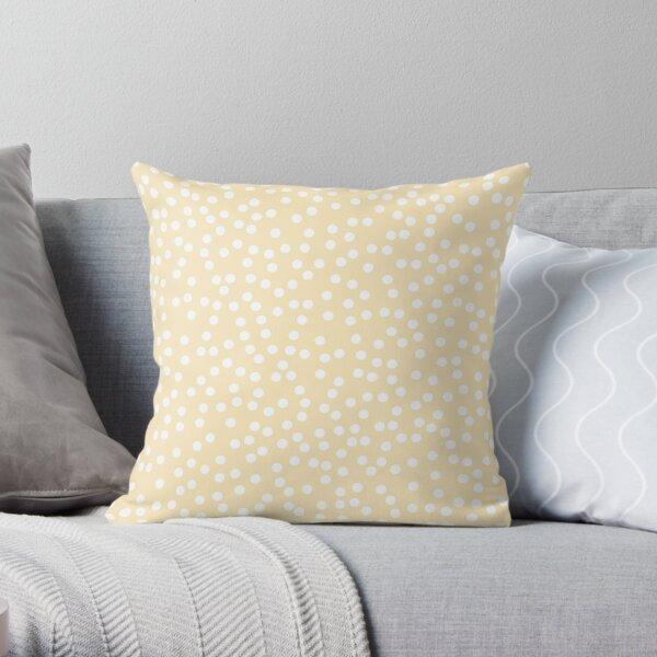 Soft Yellow and White Polka Dots Throw Pillow