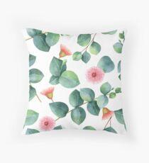 Eucaliptus with pink flowers Throw Pillow