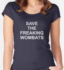 SAVE THE FREAKING WOMBATS Women's Fitted Scoop T-Shirt