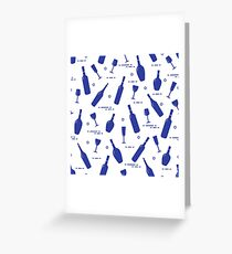 Pattern of wine glasses and bottles of wine. Greeting Card