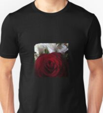 Red and White Rose Photographed Unisex T-Shirt