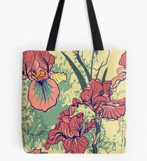 SeaSeamless pattern with decorative  iris flower in retro colors. mless pattern with decorative  iris flower in retro colors.  Tote Bag