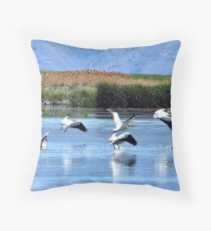 Pelicans Take Flight Throw Pillow