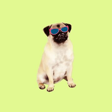 Funny Pug with Glasses, Pug Lovers  by aashiarsh
