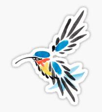 Watercolor blue hummingbird in flight.  Sticker