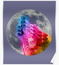 Howling Wolf  & Moon - Poster Poster