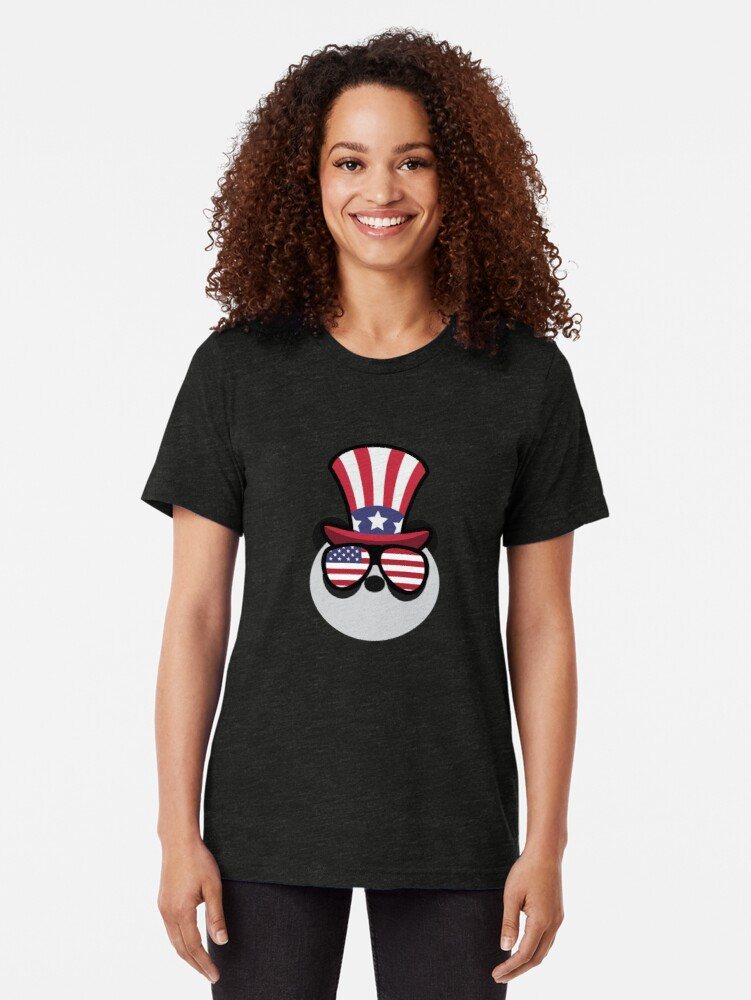 Vista alternativa de Camiseta de tejido mixto Panda Happy 4th Of July