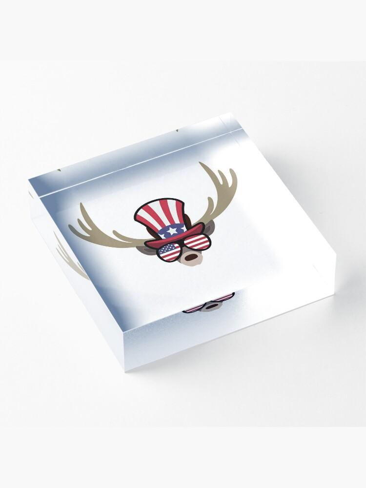 Vista alternativa de Bloque acrílico Deer Happy 4th Of July