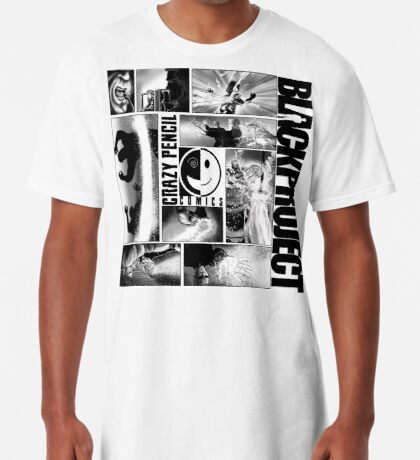 CRAZY PENCIL COMCIS - BLACK PROJECT DINER CLOCKWISE COLLAGE Long T-Shirt