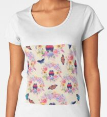 seamless  nature pattern with flowers,birds and butterflies  Women's Premium T-Shirt