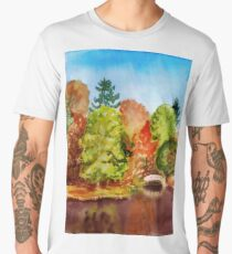 Autumn park landscape Men's Premium T-Shirt