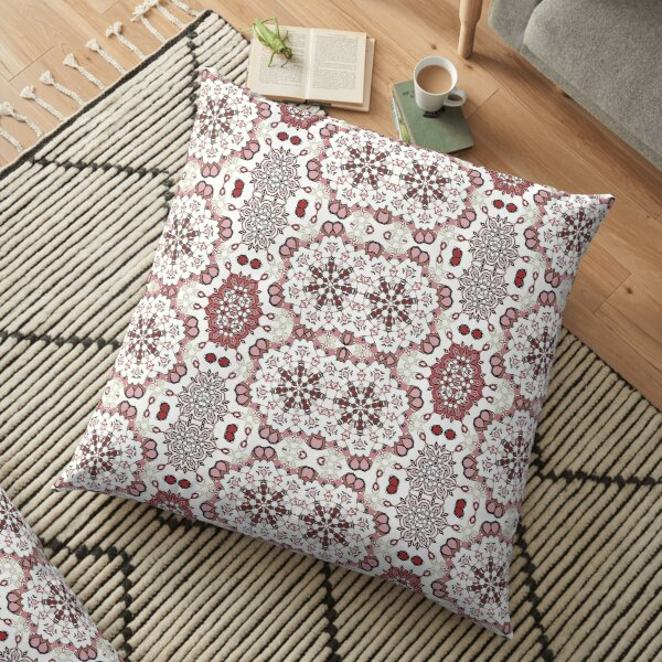 Rose Browns Cats Circle Design at Green Bee Mee Floor Pillow