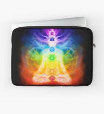 Chakras and energy flow on human body art photo print Laptop Sleeve