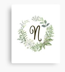 Monogram N Forest Flowers And Leaves Canvas Print