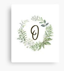 Monogram O Forest Flowers And Leaves Canvas Print