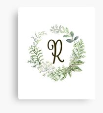 Monogram R Forest Flowers And Leaves Canvas Print
