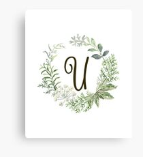 Monogram U Forest Flowers And Leaves Canvas Print