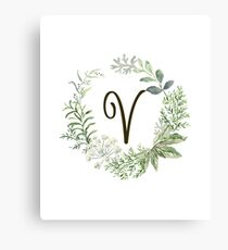 Monogram V Forest Flowers And Leaves Canvas Print