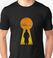 Black Man Standing In The Door Knob Hole  Unisex T-Shirt