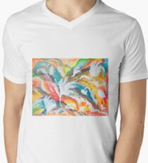 Abstract flowers on colorful background Men's V-Neck T-Shirt