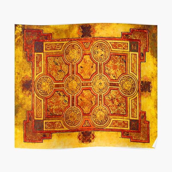 Red Gold Kells Carpet Medieval Illumination Art Poster