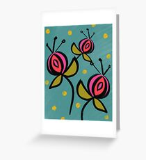Graphic Floral Teal and Prink  Greeting Card