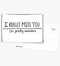 Funny I Miss You Card- Missing You Card- I Really Miss You Postcards