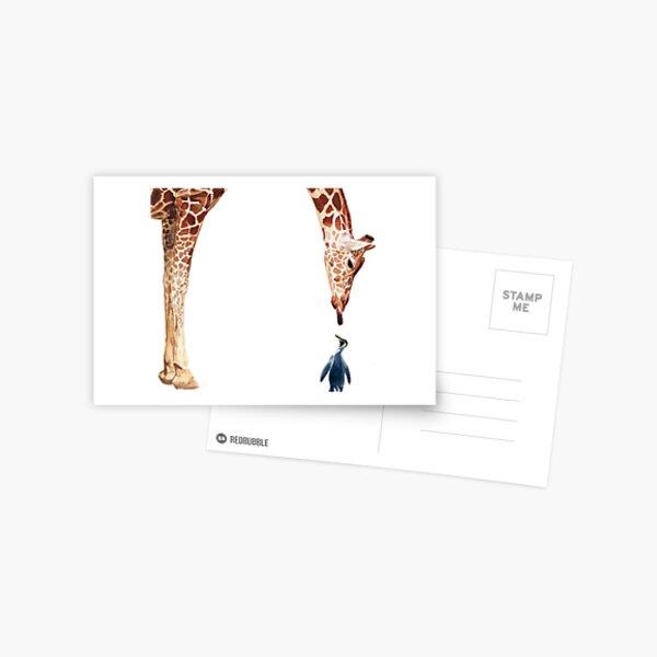 """Licker with Penguin"" Giraffe Watercolor Postcard"