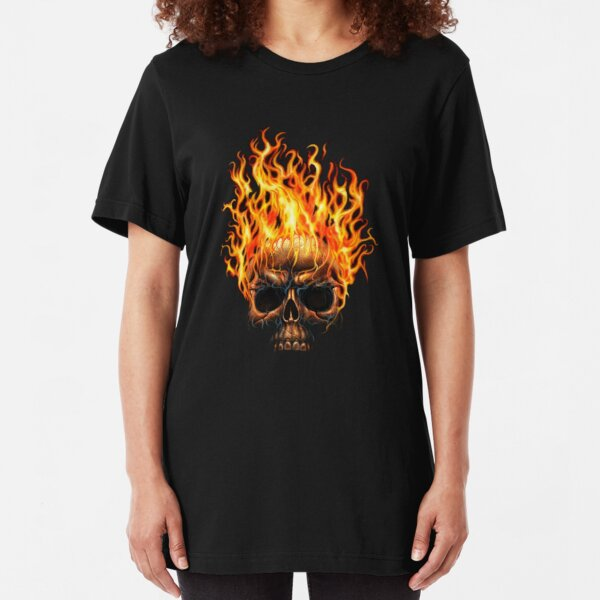 Purple Fire Skull Mens PRINTED T-SHIRT Axes Helmet Flames Gothic