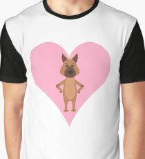 German Shepherd Cartoon Shirt Print Art Pink Heart Graphic T-Shirt