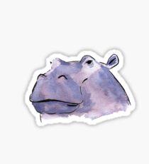 Watercolour Hippo Sticker