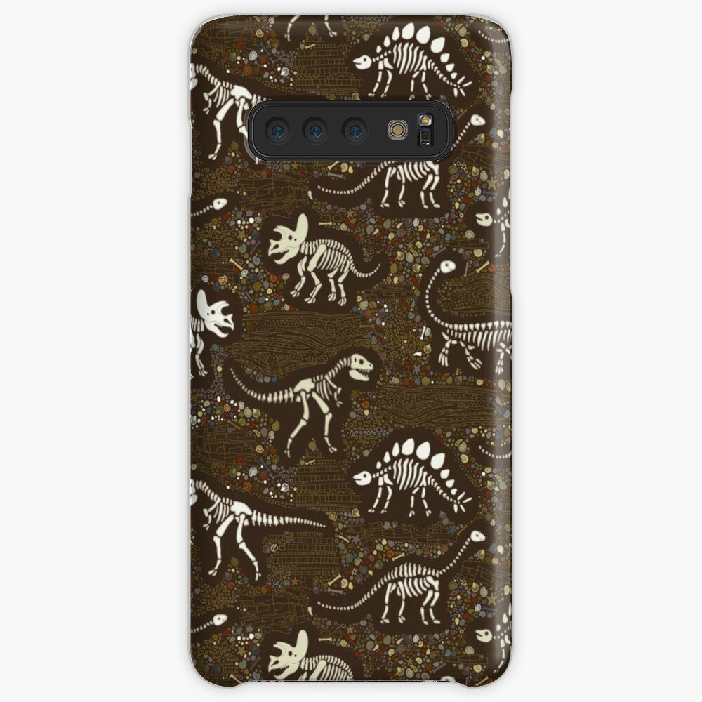 Dinosaur Fossils - cream on brown - Fun graphic pattern by Cecca Designs Case & Skin for Samsung Galaxy
