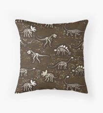 Dinosaur Fossils - cream on brown - Fun graphic pattern by Cecca Designs Throw Pillow