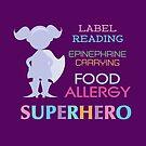 Kids Food Allergy Superhero Girls Silhouette by SamAnnDesigns