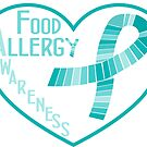 Teal Ribbon Heart Food Allergy Awareness by SamAnnDesigns