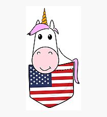 Unicorn girl kids American flag breast pocket Photographic Print