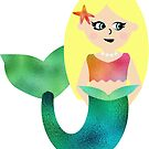 Pretty Kids Blonde Mermaid With Faux Foil Fin by SamAnnDesigns