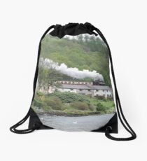 The Train That Rides The Rooftops Drawstring Bag