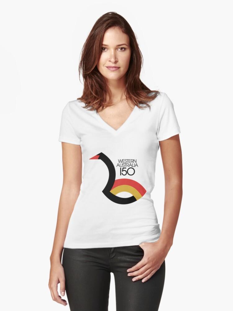 Western Australia 150 Women's Fitted V-Neck T-Shirt Front