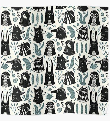 Plants & Animals Pattern Poster