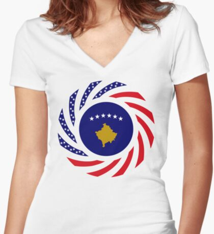 Kosovar American Multinational Patriot Flag Series Fitted V-Neck T-Shirt