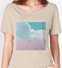 Abstract minimalist scenic view of calm sea with boat in sunset Women's Relaxed Fit T-Shirt